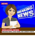 Young news anchor woman reporting breaking news vector image