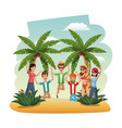 young people in the beach jumping happiness vector image vector image
