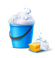 3d bucket and sponge with soapy bubbles vector image vector image