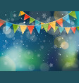 abstract background with snow and color flags vector image vector image