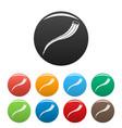aloe branch icons set color vector image vector image