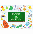 back to school banner with green blackboard on vector image