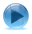 Blue abstract 3d play icon vector image