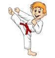 Boy cartoon doing martial art vector image vector image