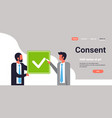 business people agreement green consent form mix vector image vector image