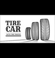 car tire with tire marks on a white background vector image vector image