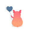 cartoon pig holding balloon vector image vector image