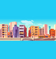 city street with houses shops and road vector image vector image