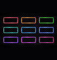 colorful neon frames set rectangle backgrounds vector image vector image