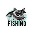elegant vintage retro fishing hand drawn vector image