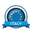EU flag button with Italy ribbon vector image