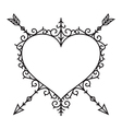graphic vintage heart and arrow vector image vector image