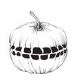Hand drawn halloween pumpkin with a teeth vector image