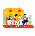 happy girls friends company sitting in cafe vector image vector image