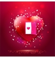 Heart with door and young heart on red vector image vector image