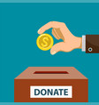 human hand puts a dollar coin in a donation box vector image