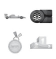 isolated object of car and rally icon collection vector image vector image