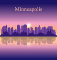 minneapolis city silhouette on sunset background vector image