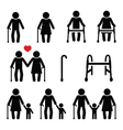 Old people seniors with walking stick vector image vector image