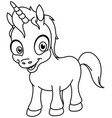 outlined smiling unicorn vector image