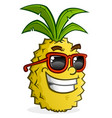 pineapple cartoon character wearing sunglasses vector image vector image