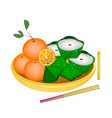 Pyramid Dessert and Chinese Pudding with Orange vector image vector image
