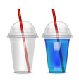 realistic detailed cocktail plastic cup witch vector image