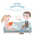 School children do homework sitting on the couch vector image vector image