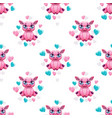 seamless pattern with cute cartoon pink pig and vector image vector image