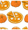seamless pattern with pumpkin pies and pumpkins vector image vector image