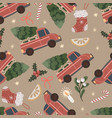 seanless pattern with red pickup truck with a vector image