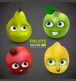 set funny and cute cartoon fruits on dark grey vector image