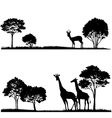 set lndscapes with trees and wild animals vector image vector image