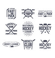 set of isolated vintage hockey signs with puck vector image vector image