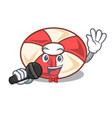 singing swim tube mascot cartoon vector image