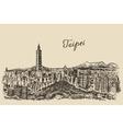 Taipei skyline Taiwan engraved sketch vector image
