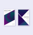 triangle cover design template set neon abstract vector image