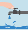 turn off the water with man s hand isolated vector image