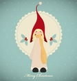 Vintage christmas card with cute girl gnome vector image vector image