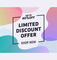 weekend limited discount offer typography banner vector image vector image