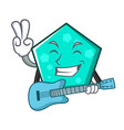 with guitar pentagon mascot cartoon style vector image vector image