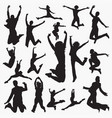woman jumping silhouettes vector image vector image