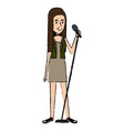 woman singing with microphone vector image vector image