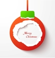 Red torn paper christmas ball vector image