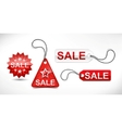 set of red discount ticket labels and tags vector image