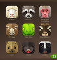 animal faces for app icons-set 23 vector image