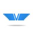 V - letter with blue wings logo idea overlapping vector image