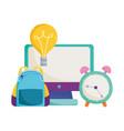 back to school backpack clock computer idea vector image vector image