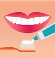 beautiful smiling mouth with beautiful healthy vector image vector image