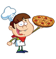Boy chef showing a delicious pizza vector | Price: 1 Credit (USD $1)